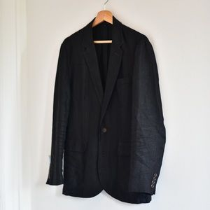 J Crew Black Irish Linen Blazer